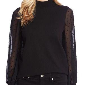 CeCe Clip Dot Sleeve Sweater Black Mock-Neck - L